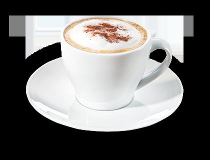 Cappuccino mit Kakao Cappuccino mit einem Schuss Kakao