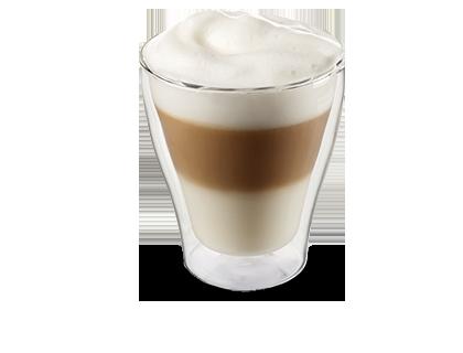Latte macchiato  Milchschaum mit einem Schuss Espresso
